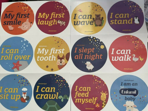 12 Enfamil Belly Badges Milestones Stickers BellyBadges Award Animals I Can Baby