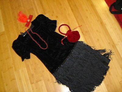 1920s twenties flapper costume black velvet and fringe dress sz 4 6 Gatsby - Twenties Flapper Dress