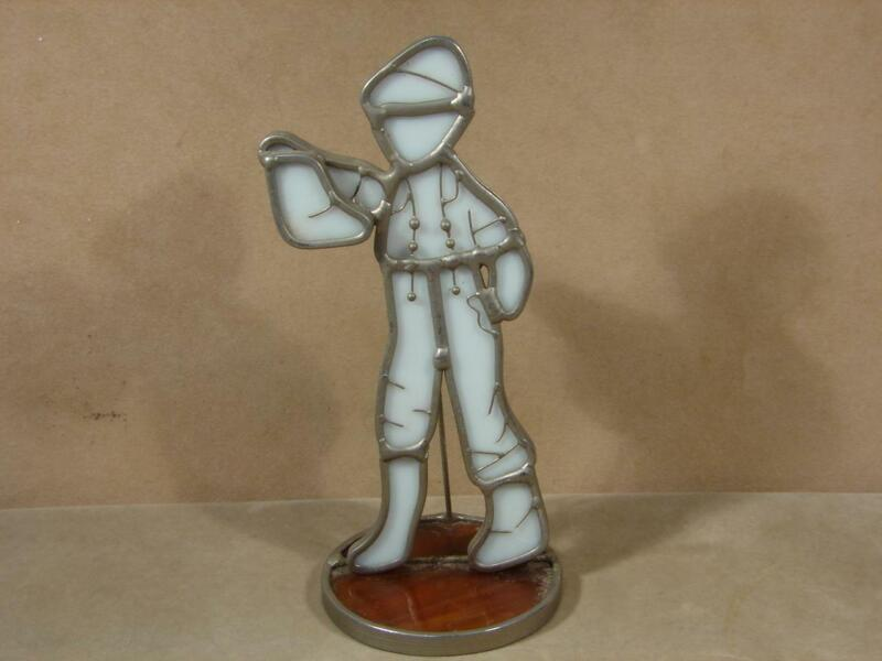 Vintage Slag Glass Lead Boy Standing Folk Art