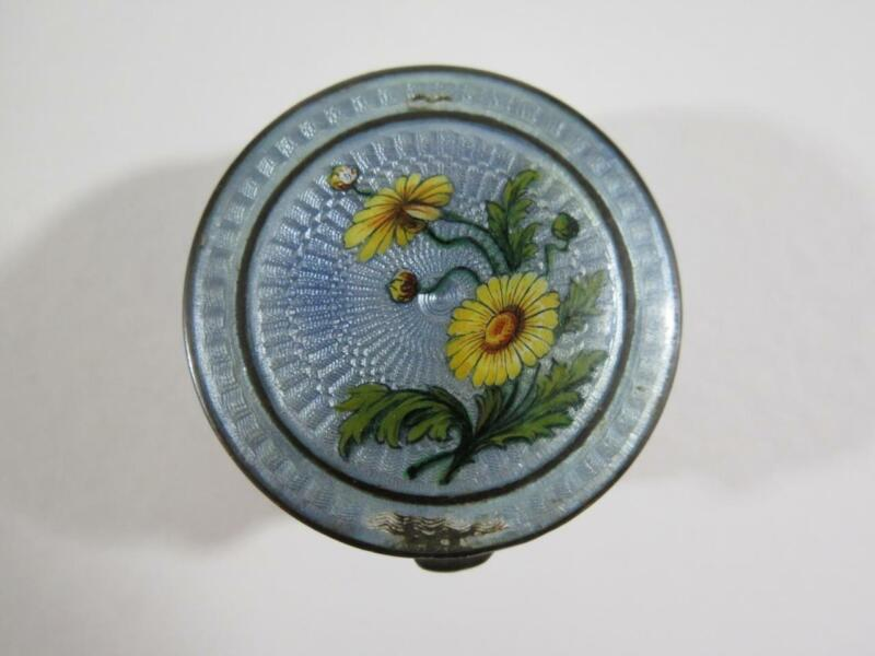 Antique Sterling Silver Enamel Guilloche Pillbox with Floral Design