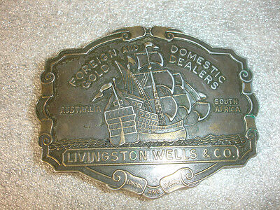 Foreign Domestic Gold Dealers Belt Buckle Ship Boat Livingston Wells Company