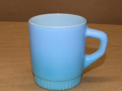 (Anchor Hocking Fire King Blue Coffee Mug Cup Ribbed Bottom Stackable Stacking)