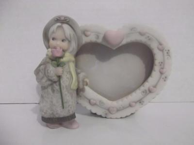 """Kim Anderson Picture Frame """"A Red Rose Is For Love"""" Enesco 4"""" Tall Heart Shape"""