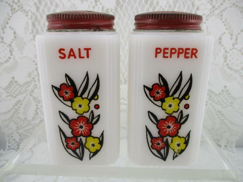 Vintage Milk Glass Tall Salt & Pepper Shakers~Tipp Red & Yellow Flowers~Red Top