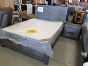 QUEEN GREY TIMBER 3 PIECE BEDROOM SUITE BED + 2 X BEDSIDE TABLES Springwood Logan Area Preview