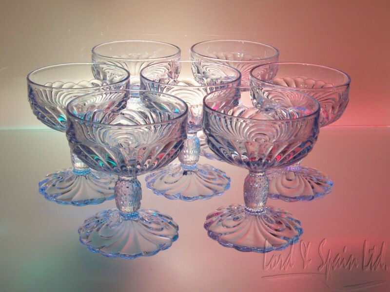 "7 Cambridge CAPRICE Moonlight Blue 4 3/8"" Tall Champagne/Sherbet Glasses"