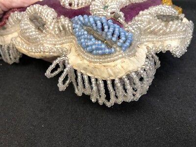 Antique Victorian Iroquois Native American  Hand Beaded Pin Cushion Pillow bird