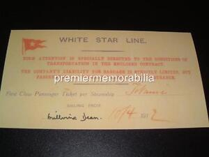 TITANIC WHITE STAR LINE MILLVINA DEAN SIGNED (PRINTED) 1st CLASS REPLICA TICKET