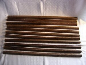 SET OF 11 VINTAGE WOODEN STAIR CARPET RODS