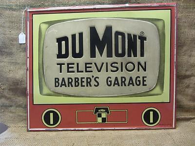 Vintage Dumont TV Barber's Garage Embossed Metal Sign > Antique Television 9316