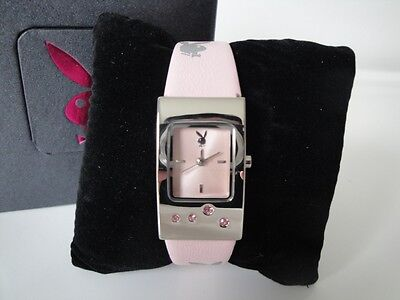 New Playboy Watches Girls Womens Quartz Battery Pink Strap Classic Ladies Watch - Playboy Ladies Watch