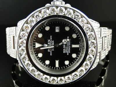 Mens Brand New Custom Rolex 46 Mm Sea Dweller Deep Sea Genuine Diamond Watch