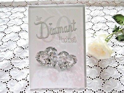 wunschkarte DIAMANT Hochzeit 60  Schriftzug Glitter 2 Herzen  (Herzen Glitter)