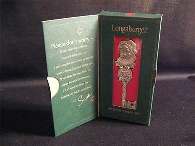 LONGABERGER PEWTER SANTA KEY ORNAMENT - NEW IN BOX