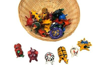 #771 Authentic Bobble Head Turtles Mexican Toy Set 4 Assortment Wood Collection