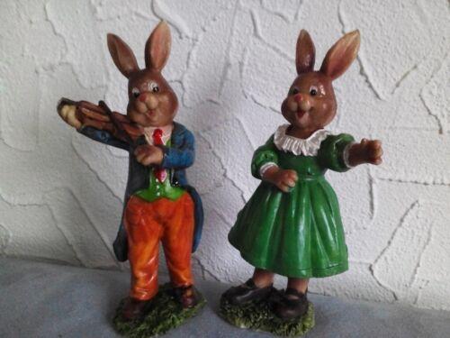 Oster Hasenmann mit Geige und tanzende Frau  2 Stück  Nr. 1436