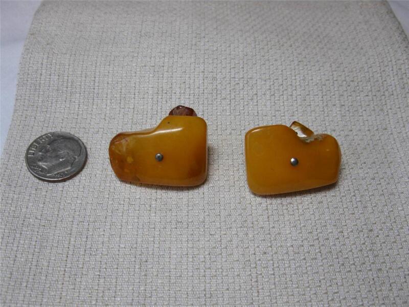 Butterscotch Amber Egg Yolk Baltic Cuff Links Antique 7.3 Gm Art Deco Cufflinks