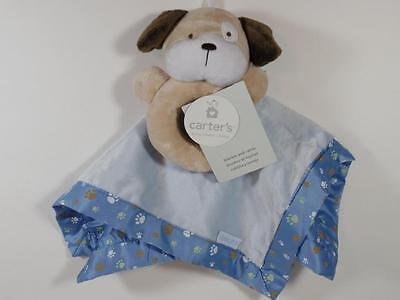 New Carter's Boy's Minky Fur & Satin PUPPY DOG Security Blanket & Ring Rattle