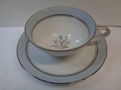 Noritake 5558 BLUEBELL Cup & Saucer Set Blue border Platinum (Bluebell Cup)
