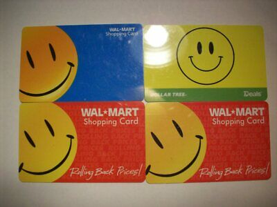 Lot of 4 Smiley Face Gift Cards, Walmart & Dollar Tree, No Value Dollar Tree Gift Cards