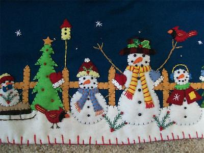 """Used, Handmade 46"""" Wool Flannel Felt Embroidered SNOWMAN Scene CHRISTMAS TABLE RUNNER for sale  Shipping to India"""