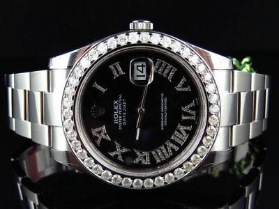 Mens New 41 MM 116300 Rolex Date Just II 2 With Roman Genuine Diamonds 4.5 Ct