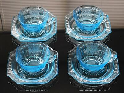 Anchor Hocking - Blue Mayfair 4 Cups And Saucers Set - 5 5/8 W And 3 5/8 W - $66.00