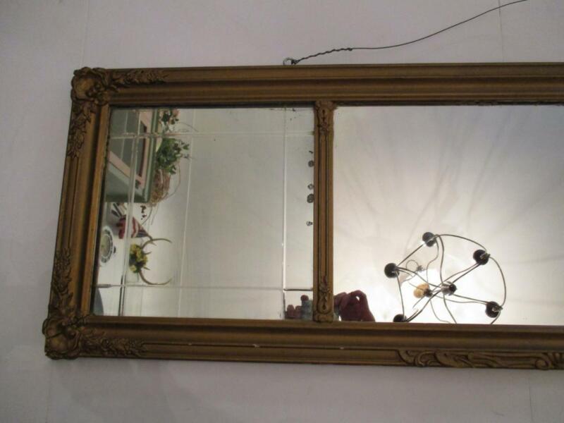 "Antique 16"" x 50 1/2"" Ornate Giltwood Framed Mirror"
