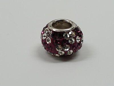 925 Sterling Silver Core Austrian Crystal Amethyst European Charm Bead