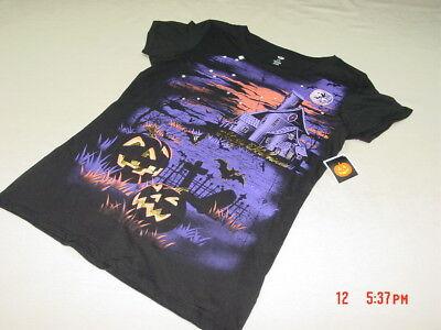 Halloween Shirts Womens (NWT Womens Halloween Tee Shirt Haunted House w/ pumpkin demon Gold Glitter)