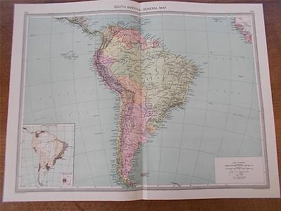 Antique c1904 Colour Map SOUTH AMERICA GENERAL MAP HARMSWORTH ATLAS VGC