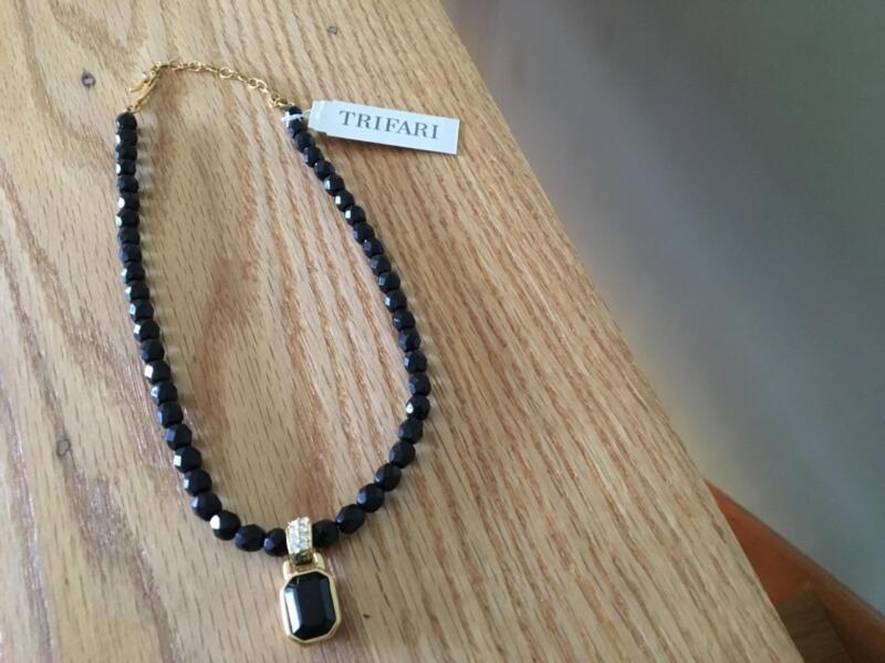 NWT Trifari Black Bead Necklace with Onyx Stone Dangle