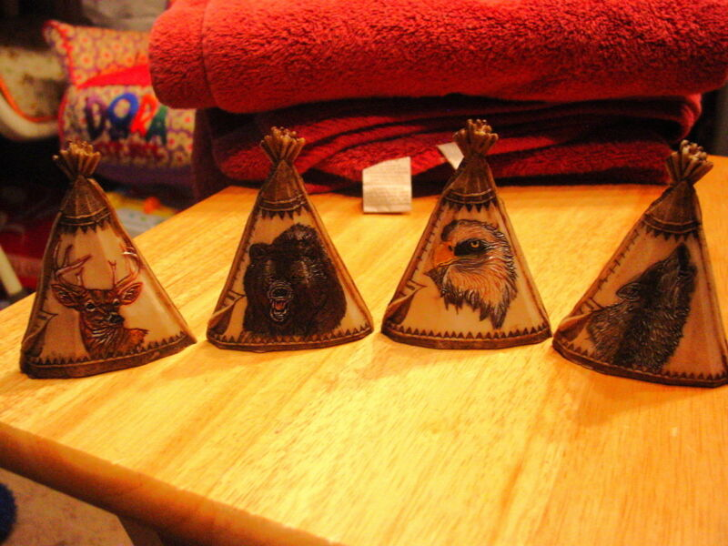 EAGLE DEER WOLF AND BEAR ETCHED ON A TEEPEE FIGURINE SET ( SET OF 4 )