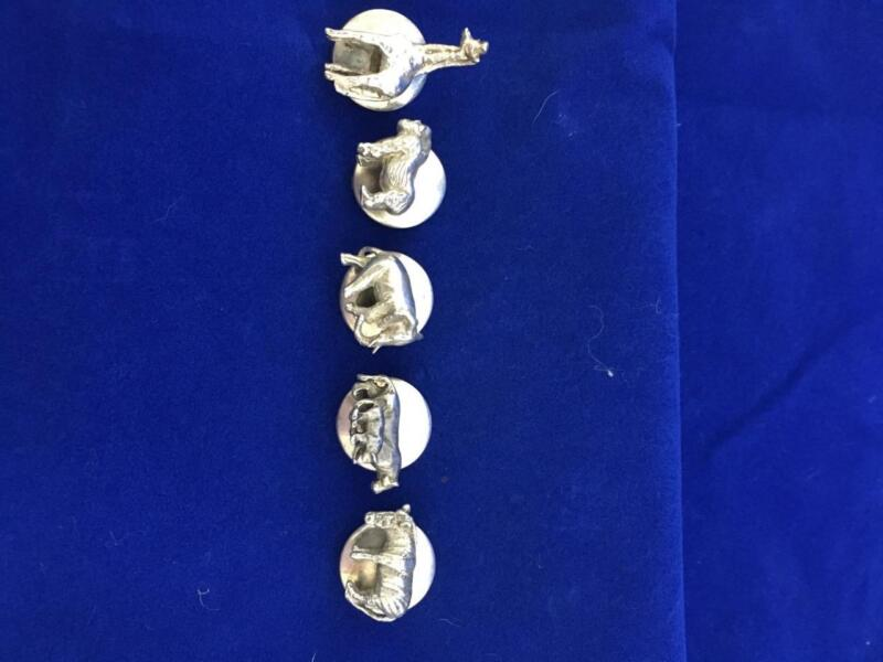 SUSAN CUMMINGS VINTAGE  STERLING SILVER 3D AFRICAN ANIMALS BUTTON COVERS  $150