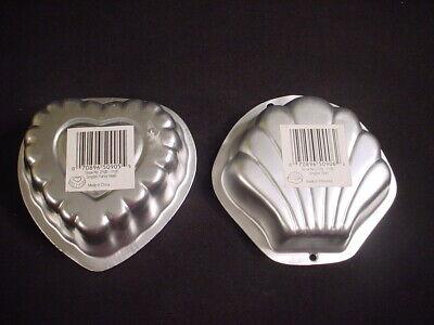 2 lot Wilton FANCY HEART & SEA SHELL SINGLE Cake Pan small mini TREAT metal mold