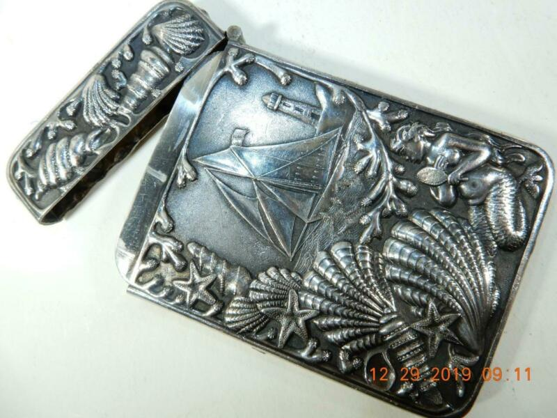 Antique Repousse  high relief Silver Card Case Sail Boat Shells Mermaid,  lilies