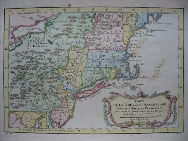1757 - BELLIN - Map NEW ENGLAND  NEW YORK  NEW JERSEY  PENNSYLVANNIA