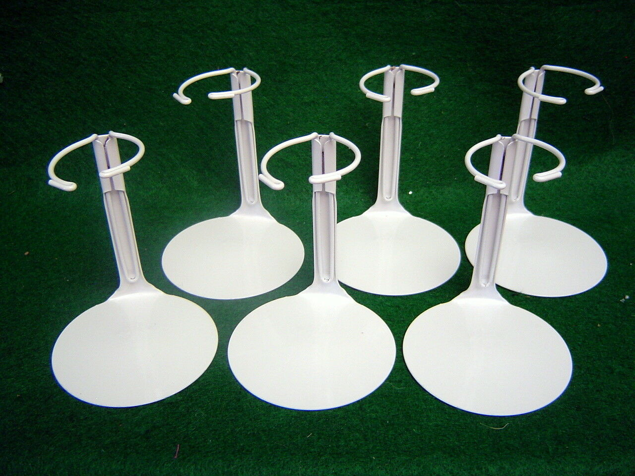 Doll Stands Set Of Six Light Gray Painted Metal For Dolls 3-5 Inches No.1001 - $8.99