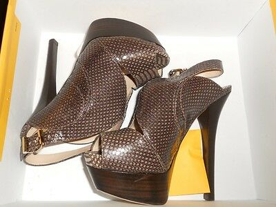 FENDI Snake Embossed Platform Cut Out Sandals Pumps Shoes Taupe Brown 36.5 EU