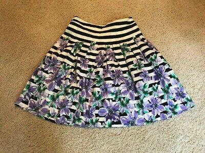 Talbots Misses Drop Waist, A- Line Pleated Skirt Black Stripe Floral - 10P -NWOT ()