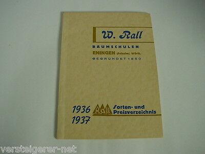 W. Rall Baumschulen Eningen / Achalm Sorten- und Preisverzeichnis 1936 / 1937