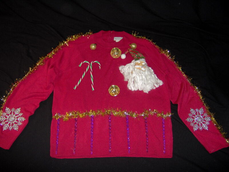 Ugly Christmas Sweater Red sz Large Santa Candy canes Handmade