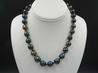 Sterling Silver 13mm Black Tahitian Baroque Pearl Strand Necklace 18