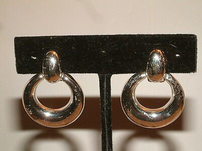 "#1650 FABULOUS SILVER TONE CLIP STYLE EARRINGS, ABOUT 1"" LONG, NEW!"