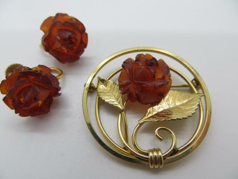 Amber Guild Brooch, Pin and Matching Screw Back Earrings 12K GF Gold Filled