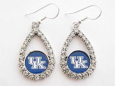 - Kentucky Wildcats Blue Teardrop Crystal Silver Womens Earrings Jewelry UK