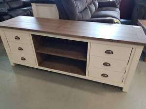 CLEARANCE!! 6 Drawer two tone egg shell finish timber tv unit Springwood Logan Area Preview