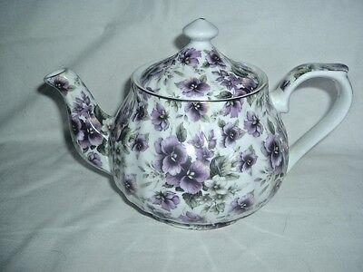 Pansy Chintz Tea Pot - Lt. n Dk. Purple - Victorian Teapot - NIB