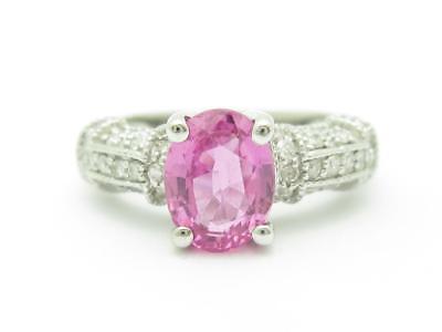 Pave Set Pink Diamonds - 14k White Gold & Diamonds Pink Sapphire Oval Halo Pave Set Vintage Style Ring