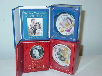 Running Press 2 miniature books plates Prince William Kate Queen Elizabeth 2-NIB